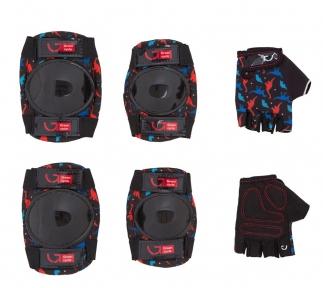 Защита Green Cycle Dino Black для детей, наколенники, налокотники, перчатки